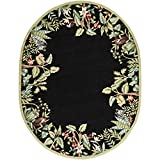 Safavieh Chelsea Collection HK295B Hand-Hooked Black and Green Premium Wool Oval Area Rug (4'6″ x 6'6″ Oval)