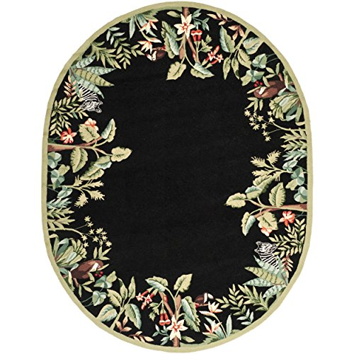 (Safavieh Chelsea Collection HK295B Hand-Hooked Black and Green Premium Wool Oval Area Rug (7'6