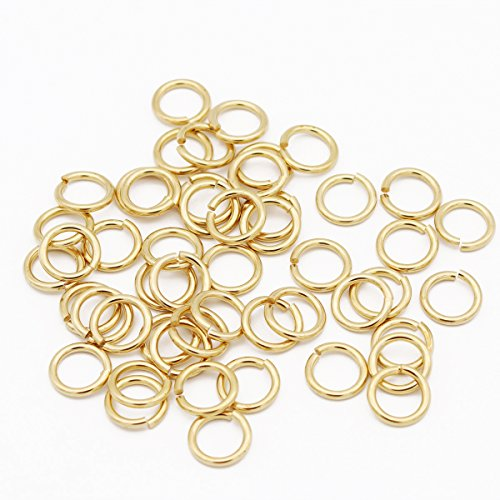 Winrase 50-Piece DIY Solid Pure Brass Open Jump Rings with Polished Surface,14mm Diameter,Gold
