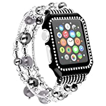 Apple Watch Band with Case,Elastic Handmade Faux pearl Bracelet Jewelry Replacement Strap Shock-proof Rhinestone Protective Cover for iWatch Series 3,2,1 Sport Edition
