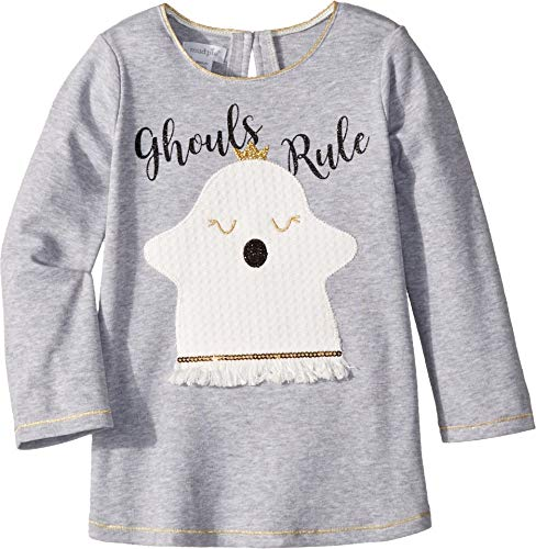 Mud Pie Girls' Little Halloween Ghost Long Sleeve Tunic, White, MD/ 2T-3T -