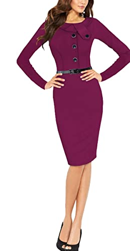 BAIMIL Women Long Sleeve Elegant Bodycon Business Work Casual Cocktail Dress