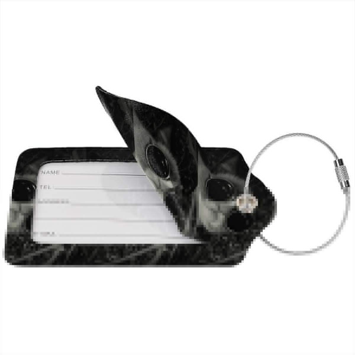 Cool Cat Leather Luggage Tags Personalized Privacy Cover With Privacy Flap