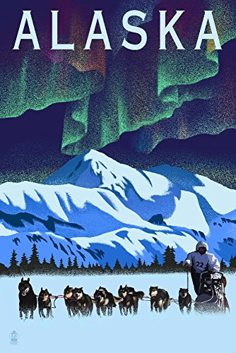 Alaska - Northern Lights and Dog Sled - Lithograph (9x12 Art Print, Wall Decor Travel Poster)