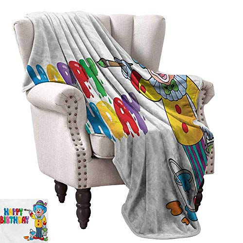 WinfreyDecor Kids Birthday Living Room/Bedroom Warm Blanket Happy Clown for Party with Colorful Painting Drawing Style Buckets Print Bedroom Warm 70