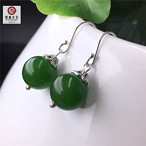 - Natural jade earrings s925 sterling silver ear hook Kunlun spinach green jasper earrings elegant short paragraph women girls Chinese cheongsam dress