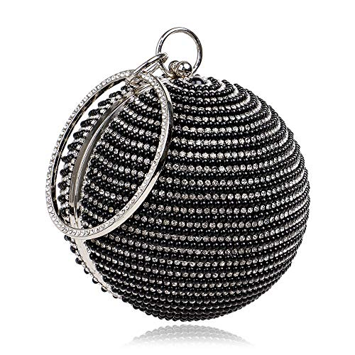 Round Beaded Glitter - Womens Evening Bags Cluthes Purses Women's Glitter Pearl Beaded Rhinestone Clutch Bag Round Ball Evening Bag Bridal Wedding Handbag Prom Bag Purse for Wedding Evening Handbag (Color : Black)