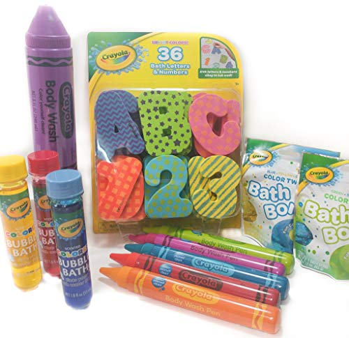Crayola Bath Tub Bundle Set - 11 Items; Jumbo Body Wash Pens, Bath Bombs, Bubble Bath, Body Wash & Bath Letters/Numbers