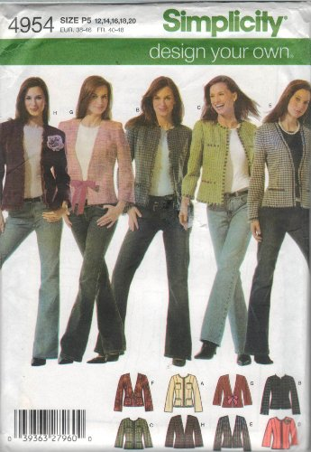 - Simplicity Pattern 4954 - Misses Lined Jacket with Front and Trim Variations