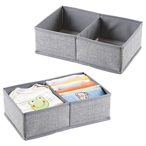 mDesign Soft Fabric 2 Section Dresser Drawer and Closet Storage Organizer for Child/Kids Room, Nursery, Playroom - Divided Organizer Bin - Textured Print, 2 Pack - Gray