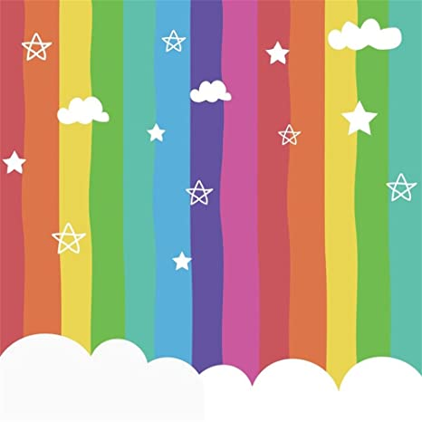 Lfeey 8x8ft Cute Rainbow Color Baby Backdrop Kids Children Girls Birthday Party Decor Wallpaper Cartoon Clouds Baby Shower Photo Booth Portrait
