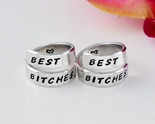 0106a2804069a BEST BITCHES - Hand Stamped Aluminum Spiral Wrap Rings Set of 2, Sorority  Sisters Best Friends BFF Gifts, Personalized Friendship Jewelry,  Handwritten ...