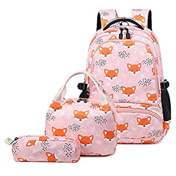 9926dda75ca8 Backpacks for Girls Cute Fox School Bags Lightweight Kids School Bags  Backpack with Lunch Box and Pencil Case