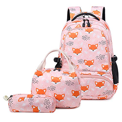 Backpacks for Girls Cute Fox School Bags Lightweight Kids School Bags Backpack with Lunch Box and Pencil Case