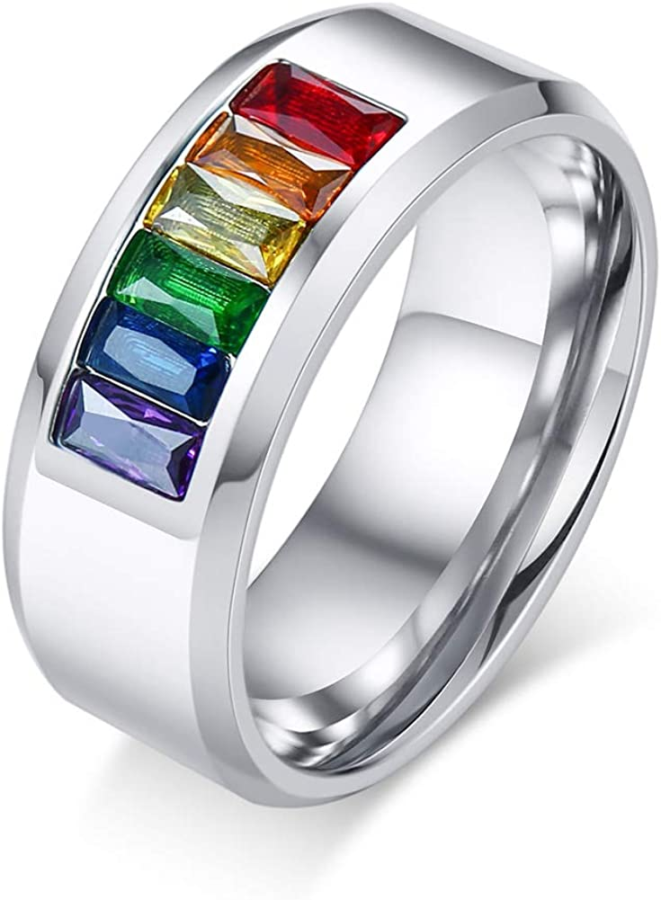 8mm Wedding Engagement Ring Rainbow Colored Crystal Stainless Steel LGBT Gay& Lesbian Pride Ring