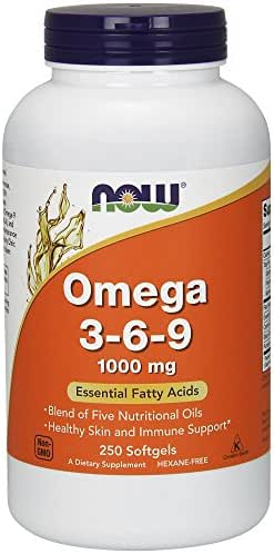 NOW Supplements, Omega 3-6-9 1000 mg with a blend of Flax Seed, Evening Primrose, Canola, Black Currant and Pumpkin Seed Oils, 250 Softgels