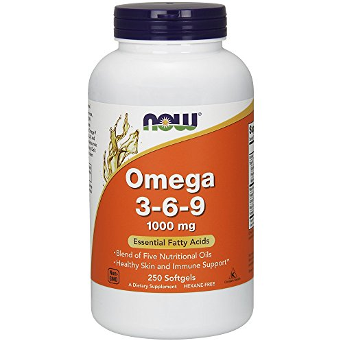 NOW Supplements, Omega 3-6-9 1000 mg with a blend of Flax Seed, Evening Primrose, Canola, Black Currant and Pumpkin Seed Oils, 250 Softgels (Omega 3 6 9 Fatty Acids Supplements)