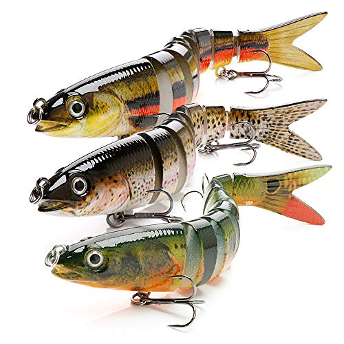 BLure Fishing Lure - Striped Bass Lures - Swimming Multi-Jointed Lure - Bass Fishing Equipment - 3D Eye Popper Crankbait Sinking Bass Swim Baits - 13.5 cm Topwater Lure with Built-in Steel Balls (3) (Best Topwater Lures Largemouth Bass)