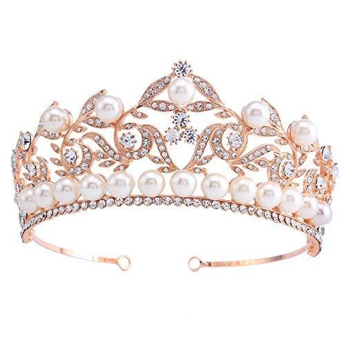 (Stuffwholesale Rose Gold Headband Tiara Pearl Bead Wedding Prom Crown (#1))