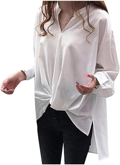 Luckycat Mujer Camisa Cuello En V Blusas de Manga Larga ...