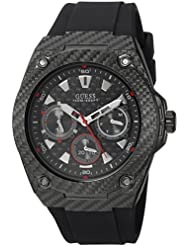 GUESS Mens Stainless Steel Casual Silicone Watch, Color: Black (Model: U1048G2)