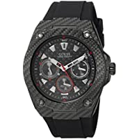 GUESS Men's Stainless Steel Casual Silicone Watch, Color: Black (Model: U1048G2)