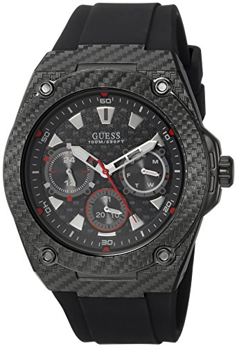 GUESS Men's Quartz Stainless Steel and Silicone Casual Watch, Color:Black (Model: U1048G2)