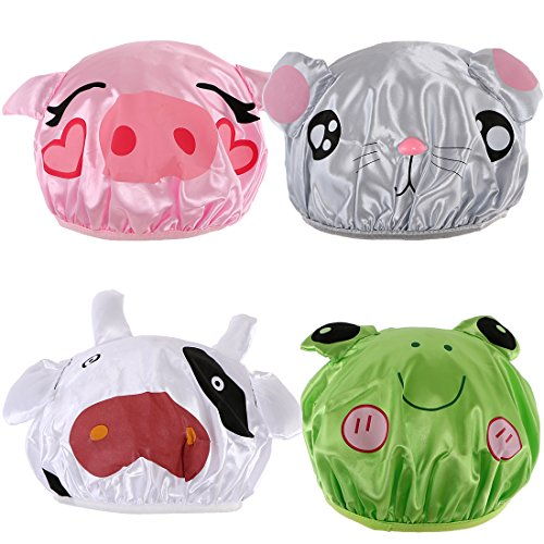 kilofly 4pc Waterproof Reusable Bath Hat Kids Fun Cartoon Animal Shower Caps Set - Cap Costumes Set