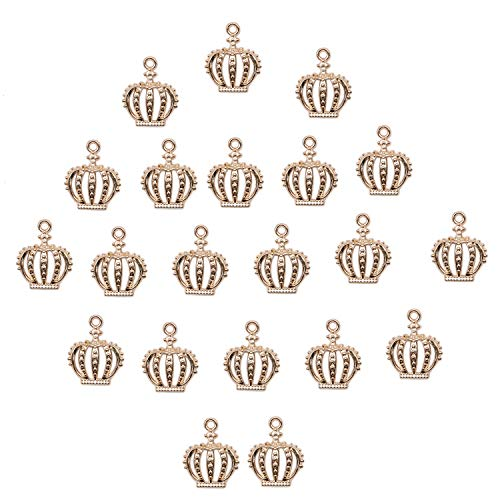 JETEHO Pack of 100 Mini Lovely Alloy Crown Charms Pendants DIY Vintage Charms Findings Pendant for Necklace Bracelet Jewelry Making and Crafting,Gold ()