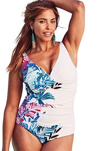 Roamans Shore Club Women's Plus Size Twist Front Maillot by Shore Club White Leaf,22 Roamans Soft Cup Bras