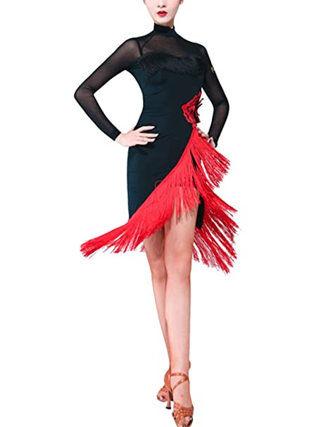 SPDYCESS Vestido de Danza Latino Mujer Vestido de Traje Clásica - Fiesta de Baile Disfrazs Salsa Tango Rumba Cocktail Ropa Competición Salón de Baile ...