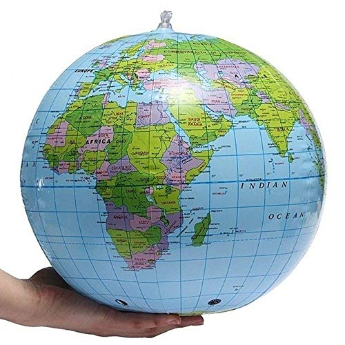 Unmengii Kids Blow Up Educational Balloon Ball Beach Ball 40cm PVC Globe World Map Toys ()