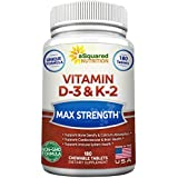 Vitamin D3 with K2 Supplement - 180 Chewable Tablets, Max Strength D-3 Cholecalciferol & K-2 MK7 to Support Healthy Bones, Teeth, Heart - Antioxidant D 3 & K 2 MK-7 Energy Formula for Men and Women
