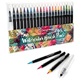 #6: Genuine Crafts Watercolor Brush Tip Pen Set - 20 Premium Assorted Colors Real Brush Tips 1 Refillable Blending Water Pen Incl. - Washable Nontoxic - Portable Durable - Free Form Watercolor Calligraphy