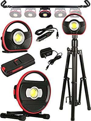Toolsand Portable Cordless Rechargeable LED Worklight Floodlight and Accessories (High Power)