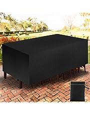 YAOBLUESEA Tuinmeubelhoes, 210D Oxford-stof, stofdicht, waterdichte afdekking voor terras, tafel en stoelen, zitgroep, rechthoekig, zwart (270x180x89cm)