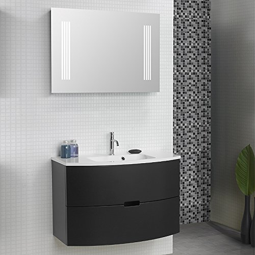 Badezimmer Waschplatz Set LUGI256 schwarz matt 90cm günstig bestellen