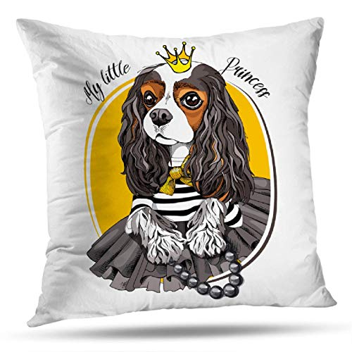 Deronge Queen Decorative Pillow Covers, Throw Pillow Case King Dog Striped Black Skirt and with Gold Princess Crown18 x18 Throw Pillow Covers,Home Decor Couch Sofa Cushion Covers Cotton