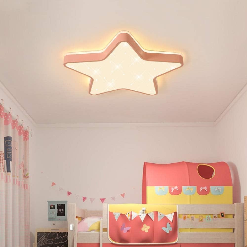 Plafón de techo LED Lámpara de techo Forma de estrella Lámpara de pared romántica Led Lámpara para niños Lámpara para sala de estar Dormitorio Sala de juegos (Luz tricolor, Borde rosa (45 * 5 cm) 36W)