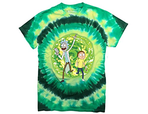 Ripple Junction Rick and Morty Large Portal Adult T-Shirt Small Green Tye Dye (Rick And Morty S3 E3 Pickle Rick)