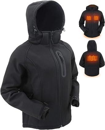 Dr.Qiiwi Mens Women Outdoor Heated Hoodie Soft Lightweight Full-Zip Jacket
