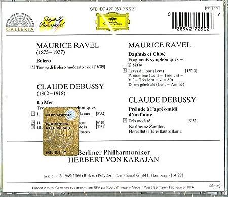 Ravel: Bolro / Debussy: La Mer: Berliner Philharmoniker Herbert Karajan: Amazon.es: Música