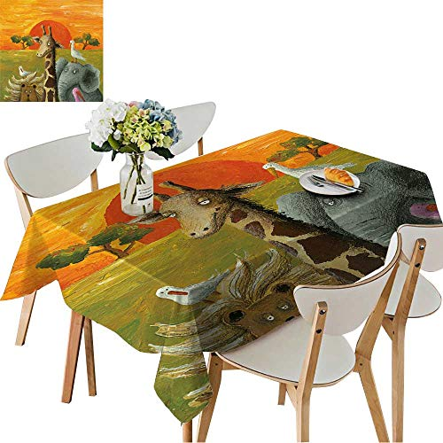 - UHOO2018 Square/Rectangle Tablecloth Waterproof Polyester Acrylic of Animals African Savanna Wedding Birthday Party,52 x 108inch