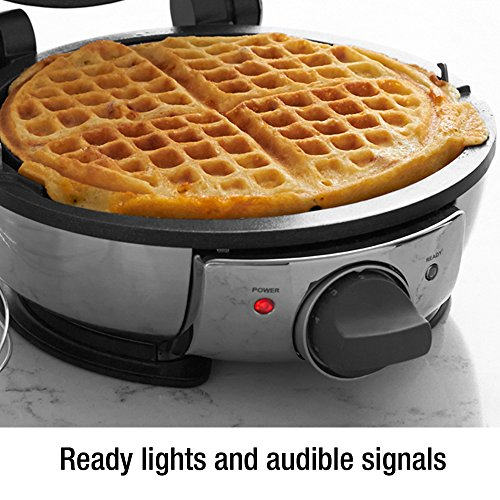 All-Clad 99012GT Stainless Steel Classic Round Waffle Maker with 7 Browning Settings, 4-Section, Silver