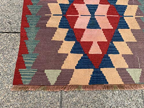 2.8x2.9 Feet Ethnic Handicraft Red Green Yellow Beige Blue Village Rug Kelim Rug Handmade Carpet Doormat Bathmat Nursery Rug Kid's Room Carpet.Code:U757