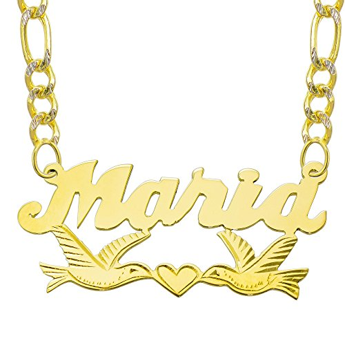 14K Yellow Gold Personalized Name Plate Necklace - Style 11 (16 Inches, White Pave Figaro Chain) 14k Yellow White Gold Nameplates