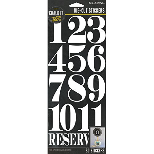 K&Company Chalk It Now Die-Cut Stickers, White Numbers, White (White Number 4 Stickers Inch)