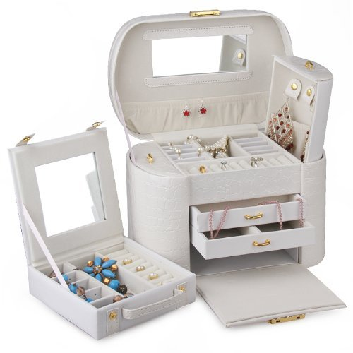 Large Jewelry Box Watch Storage Case Travel Case with Rings Compartments (White) from BELLAMORE GIFT
