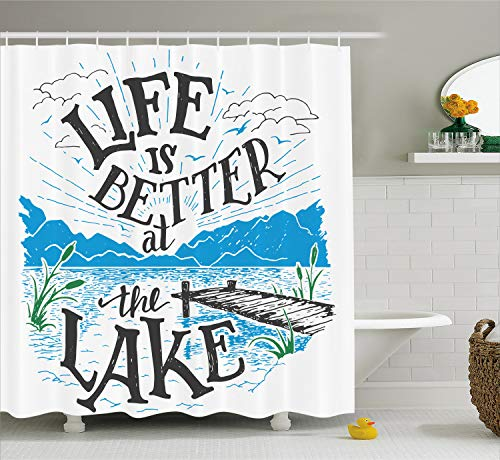 Ambesonne Cabin Decor Shower Curtain by, Life is Better at the Lake Wooden Pier Plants Mountains Outdoors Sketch, Fabric Bathroom Decor Set with Hooks, 70 Inches, Blue Black Green