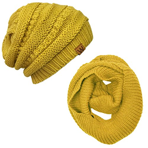 wrapablesr-winter-warm-knitted-infinity-scarf-and-beanie-hat-set-yellow